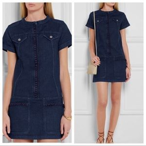 See By Chloe Stretchy Denim Blue Embroidered Dress